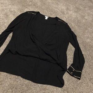 Cache black sheer high low faux wrap blouse size L